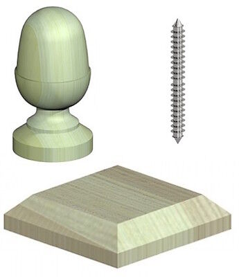"4"" Softwood Quality Wooden Acorn Fence Post Cap & Base - Green Treated"