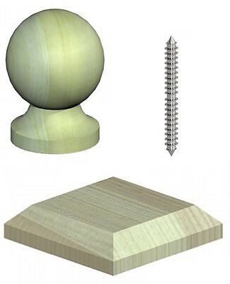 "3"" Softwood Quality Wooden Ball Fence Post Cap & Base - Green Treated"