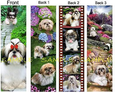 3 Lot-SHIH TZU BOOKMARK FUN Dog Tan Brown Black White Puppies ART Book Mark Card