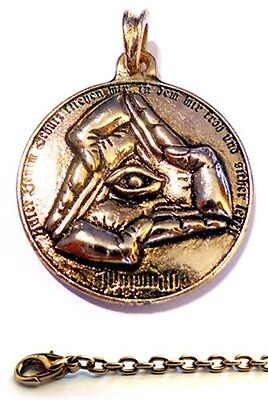 ILLUMINATI + CHAIN 24ct gold plated Pendant Amulet Antique Wiccan Occult Jewelry