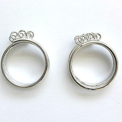 10 Silver Plated Adjustable Beading Ring With loops Base Blanks