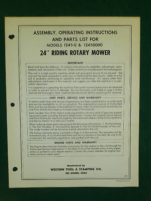 """Amf Western Tool 24"""" Riding Rotary Mower Parts Manual"""