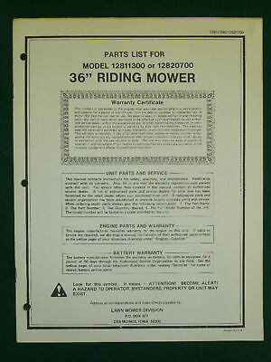 "AMF WESTERN TOOL 36"" RIDING MOWER PARTS MANUAL"