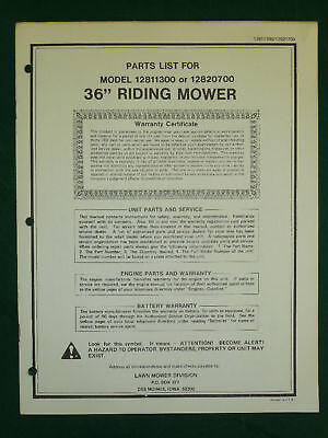 """Amf Western Tool 36"""" Riding Mower Parts Manual"""