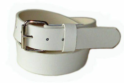 Mens Womens 1.5/' Width Plain Leather Belt Snap On Silver Buckle 4 Color 4 Size