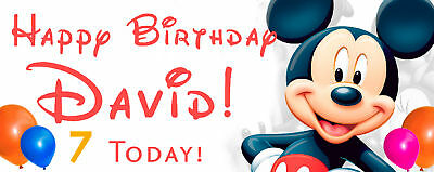 Disney Birthday Banner PERSONALISED 5/'// 6/' Mickey Mouse