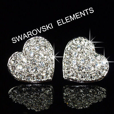 SALE Bridesmaid Prom White Gold Filled Earrings made with Swarovski Crystal E412
