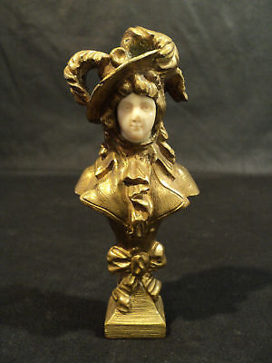 Great French Miniature Bronze Sculpture Victorian Lady