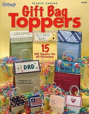 Gift Bag Toppers, 15 Special Occasion Holidays Tops plastic canvas pattern book