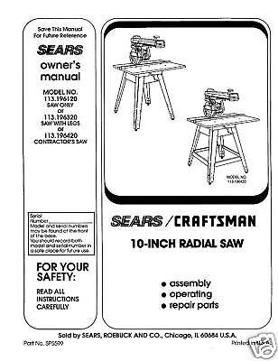 Sears Craftsman  Radial Arm Saw Manual No.113.196120