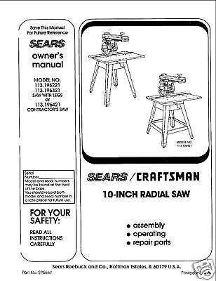 Sears Craftsman  Radial Arm Saw Manual No.113.196321