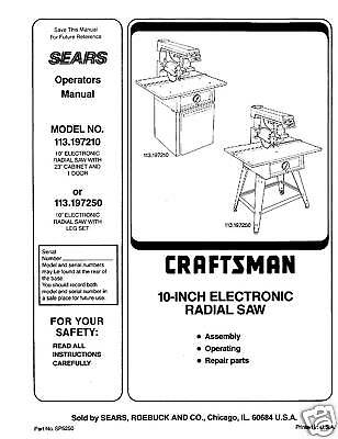 Sears Craftsman  Radial Arm Saw Manual No.113.197250