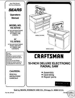 Sears Craftsman  Radial Arm Saw Manual No.113.197410