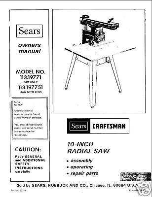 Sears Craftsman  Radial Arm Saw Manual No.113.197751