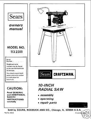 Sears Craftsman  Radial Arm Saw Manual No.113.23111