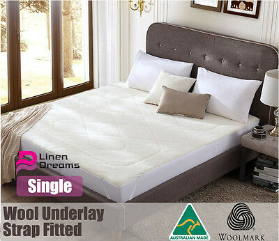 Aus Made 100% Pure Wool Underlay / Underblanket-Single