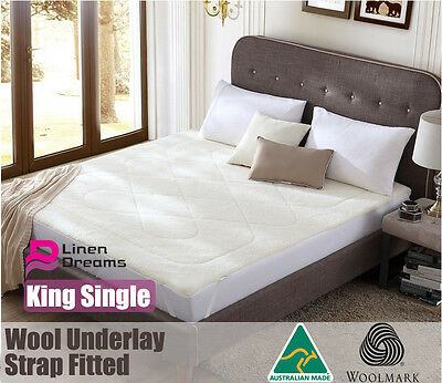 Aus Made Luxury Wool Underlay/ Underblanket-King Single