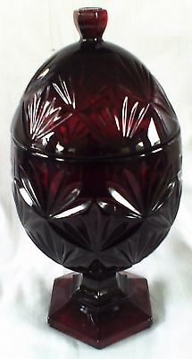Covered Candy Dish * RUBY RED * Candle Holder Luminarc