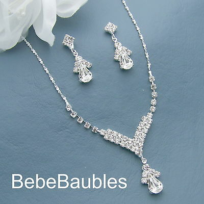 Crystal Necklace Set Silver Sp Bridal Wedding Bridesmaid Gift Prom New #71