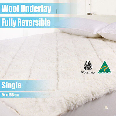Aus Made Fully Fitted Wool Underlay/underblanket-Single