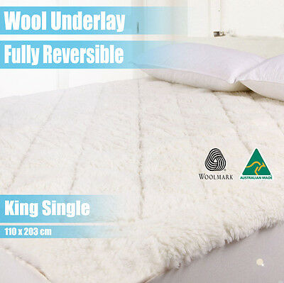 Aus Made Luxury Fully Fitted Wool Underlay--King Single