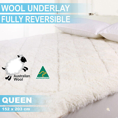 Aus Made Fully Fitted Wool Underlay/underblanket--Queen