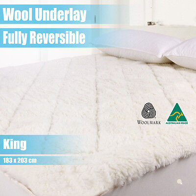 Aus Made Fully Fitted Wool Underlay/underblanket--King