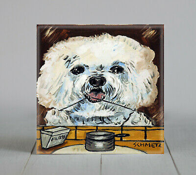 Bichon Frise FLOSSING picture dog art ceramic TILE abstract folk pop art JSCHMET
