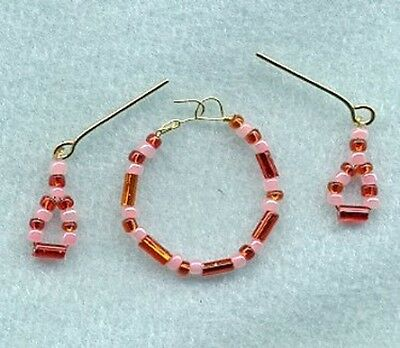 Barbie Doll Jewelry Hot Orange Crystal & Pearls Necklace Earring Set - Linhill