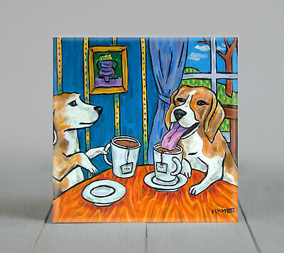 beagle tea time animal ceramic  dog coaster tile art