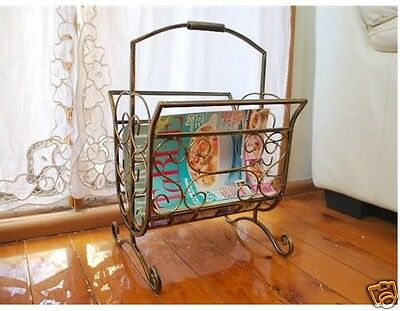 Handmade Elegant Iron Magazine Rack French Style Antique Brass/Gold Color