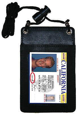 BLACK Leather ID CARD Holder Travel Pouch Neck Badge Strap Pocket NWT