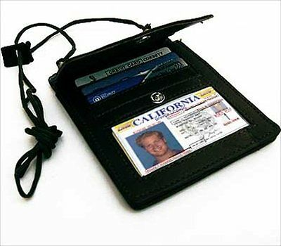 BLACK LEATHER PASSPORT ID Holder Pouch Wallet Organizer Flap Credit Card NWT