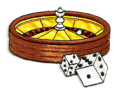 Roulette Wheel & Dice Embroidered Iron On Applique