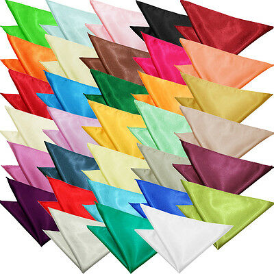 DQT Premium Satin Plain Solid Wedding Pocket Square Hanky – Various Colours