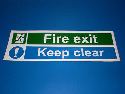 Fire Exit Keep Clear 300 x 100 Plastic Fire Door Sign - Evacuation, Safety Alarm