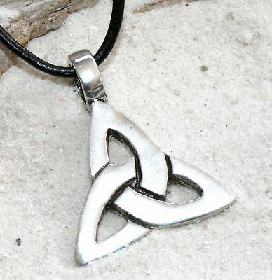 CELTIC Irish TRIQUETRA Ireland Triangle Trinity Pewter Pendant Leather Necklace