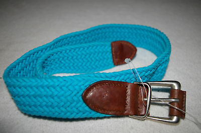New Vintage Limited Girls Corduroy Cotton/ Italian Leather Blue Belt Made in USA