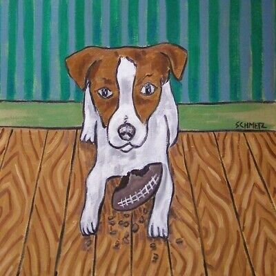 Jack Russell terrier football Toy animal dog art tile gift