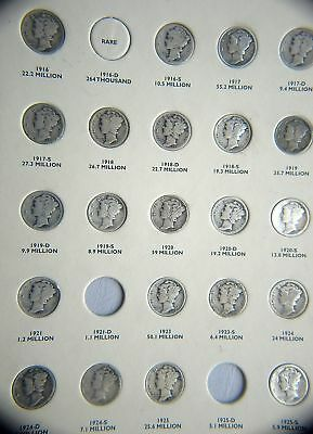 1916-1945 Mercury  Set  Missing 4 Circulated (P17040)