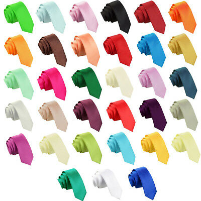 DQT Premium Satin Solid Plain Men's Wedding Skinny 5cm Tie - Various Colours