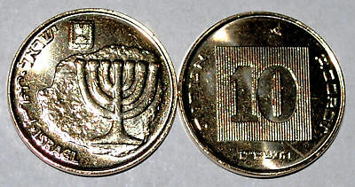 Israel 2009 10 Agorot BU From A Mint Roll UNC KM# 158