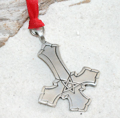 ST PETERS CROSS INVERTED Pewter Christmas ORNAMENT Xmas