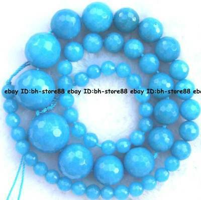 6-16mm blue Jade round faced graduated Beads 17''