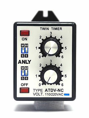 1pc Industrial Twin Timer ATDV-NC 6S-60M AC110/220V ANLY Taiwan