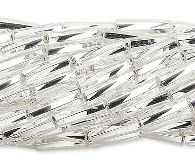 1 Hank Silver Lined Clear Glass #3 Twist Tube 1/4 Inch Long Bugle Beads