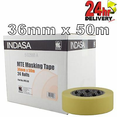 "Indasa MTE High Quality 36mm 1.5"" inch Masking Tape Low Bake Tack 24 Rolls"