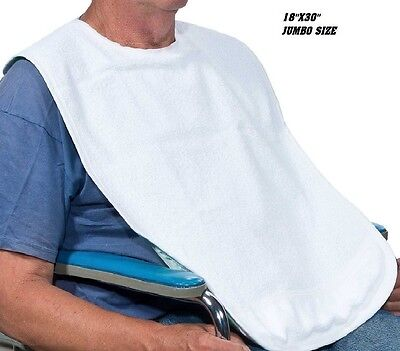 1 New Adult Terry Cloth Bib W/ Easy Closure White