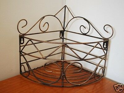 Iron Wall Mounted Kitchen Bathroom Rack Storage Rack Basket Antique Brass