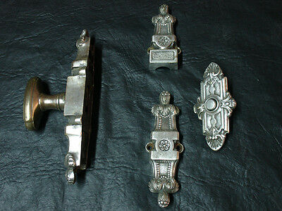 Antique brass silverplated Espagnolette & push bell